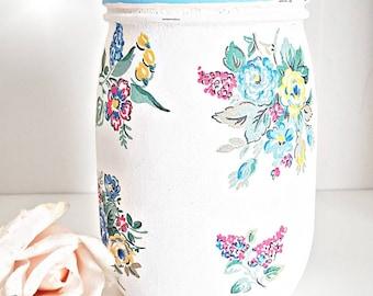 Cath Kidston jar, Highgate rose design, Floral jar, utensil jar, pretty pastel jar, shabby chic, gift, painted jar, decoupage jar, home gift