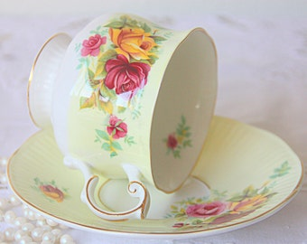 Vintage Queens Rosina Bone China Yellow Cup and Saucer, Rose Decor, England