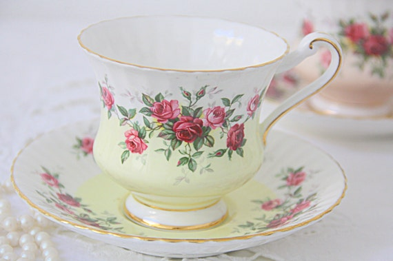 Vintage Paragon Bone China Gentleman Size Cup and Saucer, White and Yellow, Red and Pink Roses Decor, England, Numbered