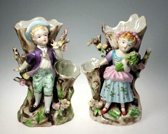Mid Century Enesco Porcelain Mantle Vases Figural 18th Century Children Pair
