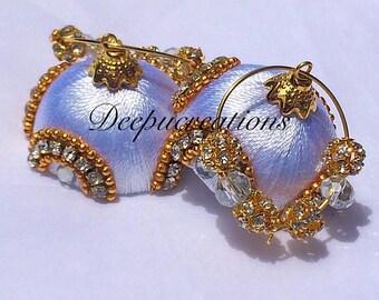 Silk thread hoop earrings