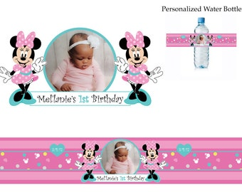 Minnie Mouse water bottle label