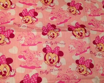 Disney Fabric Minnie Mouse Baby Pink Cotton Charm /FQ /1/2 Metre /Metre sewing quilting