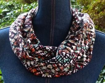 Gold, Orange, Mint Green, Black & White Aztec Cotton Knit Infinity Scarf; Loop Circle Scarf; Wraps; Long Scarf