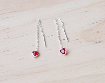 Heart Chain Earrings, Threader Earrings, 925 Sterling Silver, Gift for her, Dainty Earrings, Minimalist Jewelry, Gift for her - SB184
