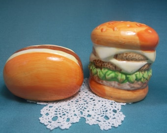 Vintage Hamburger and Hotdog Salt and Pepper Shakers, Picnic Table, Summer Cookout, BBQ Grill, Outdoor Tableware