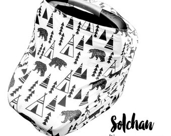 Stretchy Car Seat Cover/Nursing Cover by Solchan || Multiuse Stretch Baby Carseat Cover, boy/girl teepee tipi bear