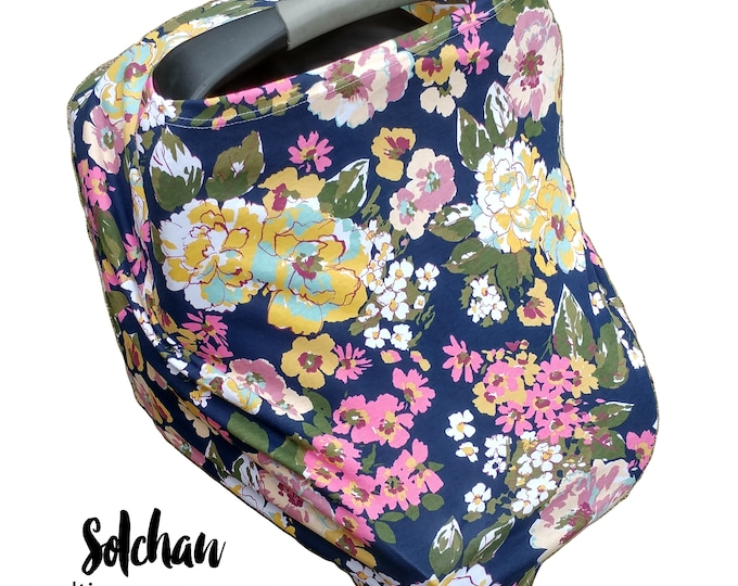 Stretchy Car Seat Cover/Nursing Cover by Solchan || Multiuse Stretch Baby Carseat Cover, girl/floral/stripe canopy