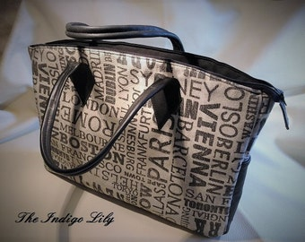Designer Fabric Tote w/ Black Leather Trim, Base, & Handles / Zip Closure / Black Fabric Lining  / Two Inner Slip Pockets