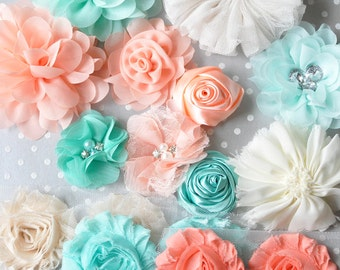 Fabric flowers Peach aqua and ivory mix, Shabby trim chiffon flowers kit, Tulle lace shabby flowers for headbands, Baby headband supplies