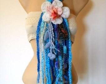 SALE 50% OFF OOAK Scarf Women Fall Accessories Scarves Loop Elegant Crochet Winter Romantic Warm Muffler Hand Knitted Neckwarmers Soft Gift