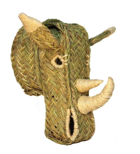 Rhino head of esparto grass. Faux taxidermy. Hang wall. Natural fiber