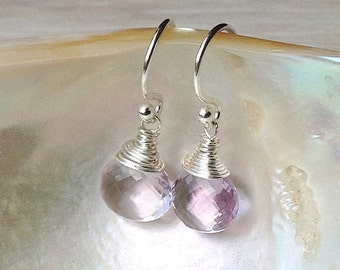Pink dangle earrings, AAA pink gemstone earrings, dainty pink amethyst earrings, sparkly jewel earrings, February birthstone gift for her