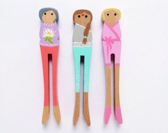 Set of Three Wooden Clothespin Dolls - Yoga Time