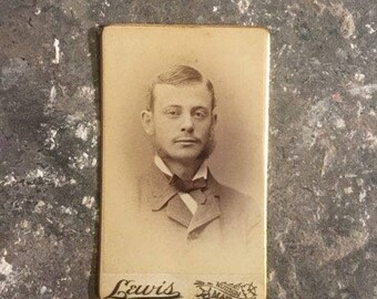 R.B. Lewis Cabinet Card of Man with Mutton Chops Antique Photography
