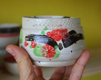 "Bowl ""Flower of asia"" in stoneware - mug ""Fleur of Asia"" sandstone, unique piece, ceramic dishes"