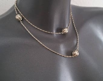 Chain 835 silver necklace beads vintage classy elegant SK292