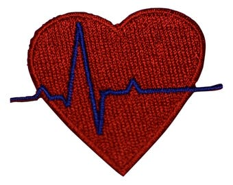 Electrocardiogram EKG and Heart Applique Patch (Iron on)