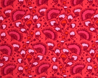 Amy Butler Bright Hearts Feather Fan in Cherry; 1/2 yard cotton woven fabric