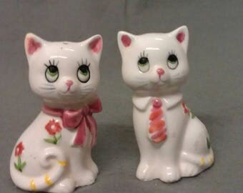 Lefton White Cats with Green Eyes Pink Ears and Nose and Colorful Faces and Clothes with Flowers Cat Salt and Pepper Shaker Set