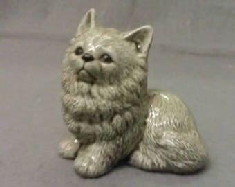Grey Cat Sitting with Beige Cat Figurine