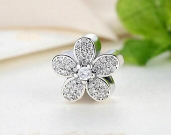 Sterling 925 silver charm zircon floral bead pendant fits Pandora charm and European charm bracelet