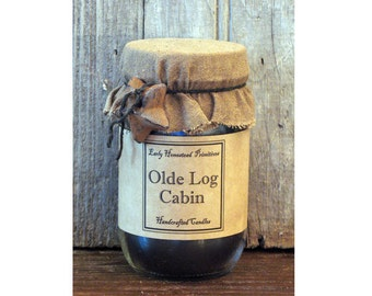 Primitive Candle, Country Candle, Rustic Candle, Olde Log Cabin Scented Jar Candle
