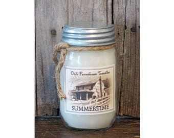 Primitive Country Rustic Farmhouse Summertime Scented Jar Candle