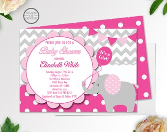 Elephant Baby Shower Invitations, Pink and Grey Baby Elephant, Elephant Invitations, Baby Shower Elephant Invitations, Baby Elephant