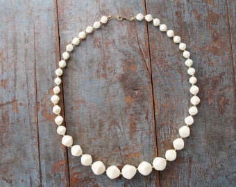 Vintage necklace, ivory white and gold necklace chunky necklace costume jewelry ivory white and gold jewelry white necklace mid century.