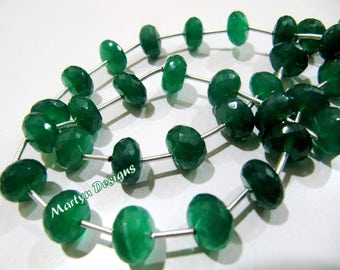 Top Quality Green Chalcedony Beads, Rondelle Faceted 10 to 12mm Size Beads, Sold per strand of 9 inch long, Genuine Green Onyx Gemstones