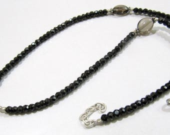 AAA Quality Natural Smoky Quartz and Black Spinel Beads Necklace , Silver Oxidize Finding , Handmade Beaded Necklace 18 inch long.
