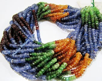 Exclusive Quality Precious and Semi Precious Beads 3-4mm , Rondelle Faceted Multi Gemstone Beads , Strand 13 inches long- Jewelry Beads.