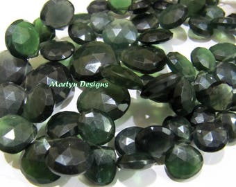 Natural Serpentine Briolette Gemstone Beads , Russian Serpentine Faceted Heart Shape Beads 9 mm to 18 mm , Strand 8 to 9 inches long.