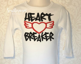 Valentine Day Shirt, Boy Valentines Day, first valentines day, custom, embroidery, heart breaker tattoo, sibling valentine, custom shirt