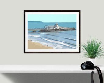 Wall Art Print, Seaside Pier, Original Digital Print of Bournemouth Pier Dorset UK, Unique Engagement Present, Making memories, Beach Art