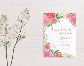 Watercolor Floral Invitation Suite | Printable Wedding Template | Custom Calligraphy | Wedding Invite