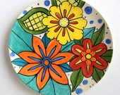 Handpainted Earthenware Dinner Plate by Kristin Nicholas -Yellow, Blue, Chartreuse, Red, Orange, Turquoise, Green, Black