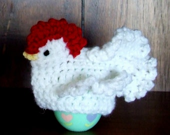 Hand Crocheted Chicken Egg Cozy For Spring And Easter Decor!