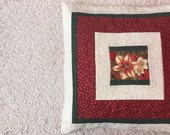 Quilted christmas pillow - quilted pillow cover - decorative christmas pillow  - red flower pillow -  patchwork pillow