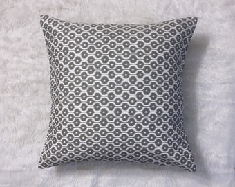 "Grey and White Jacquard Pillow Cover | Cushion Cover | Throw Pillow Cover | Decorative Pillow Cover | Envelope Closure | 18""x18"""