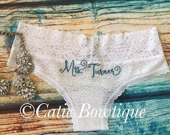 Bridal Monogram Cheeky Panties/ wedding something blue underwear/ custom white lace cheeky/ Mrs / Bride/ bride gift/ bridal panty/lingerie