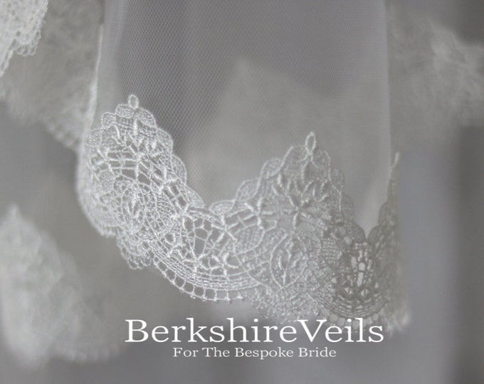 Featured listing image: Chapel Length Ivory Veil With A Venice Lace Trim | Chapel Veil with Lace
