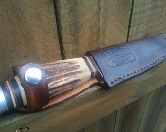 Handmade Leather Hunting Knife Sheath - Made in the USA, Perfect gift, Fathers Day, Christmas, Present, Camping, Hunting