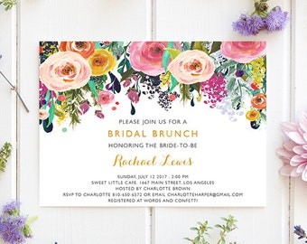 Bridal Brunch Invitation, Bridal Shower Printable, Bridal Shower Invitation Instant Download, Floral, Brunch Invitation, Elegant Invitations