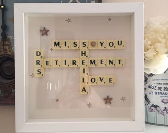 Personalised Scrabble retirement Gift Art Picture Frame Gift Idea present wall art
