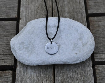 Small steel plate engraved necklace