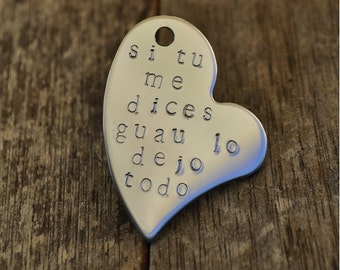 Engraved heart phrase wow