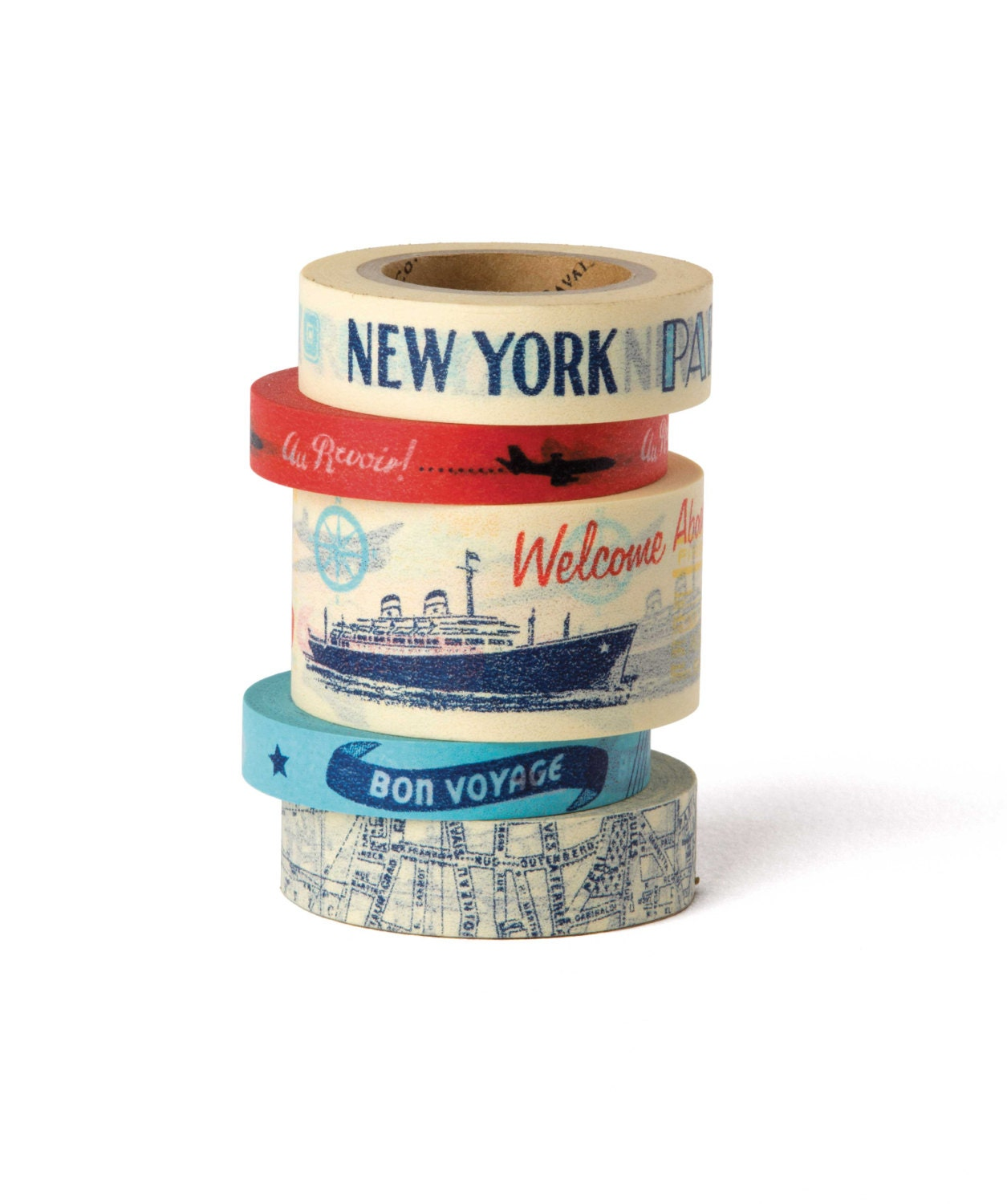 Cavallini co vintage travel paper tape in a tin paper tape sold by hamptonblue jeuxipadfo Choice Image