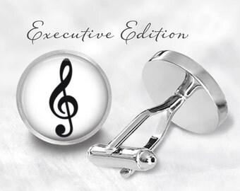 Treble Clef Cufflinks - Treble Cuff Links - TrebleClef Cufflink - Music Note Cufflinks - Music Cuff Links (Pair) Lifetime Guarantee (S0351)
